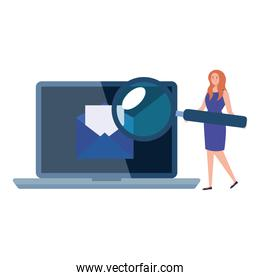 Envelope on laptop and woman avatar with lupe vector design