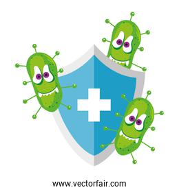 Covid 19 virus cartoon on shield with cross vector design