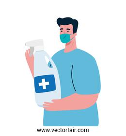 Man avatar with medical mask and hands sanitizer vector design