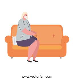 Old woman avatar with medical mask on couch vector design