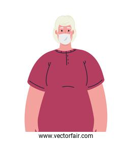 Old woman avatar with medical mask vector design