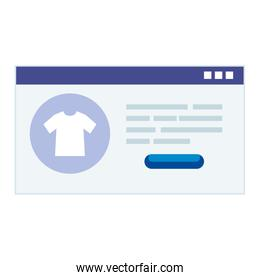 Website with tshirt and buy button vector design