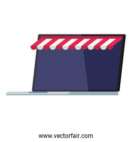 Laptop with tent vector design
