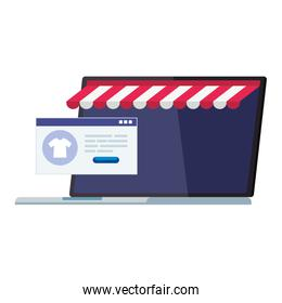 Laptop with tent and website vector design