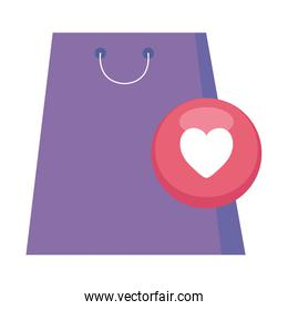 shopping bag and heart icon vector design