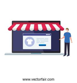 Man with mask and laptop with tent vector design