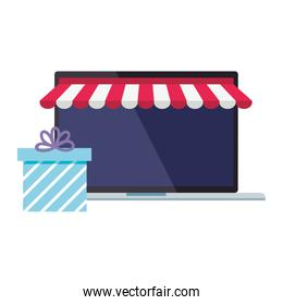 Laptop with tent and gift vector design