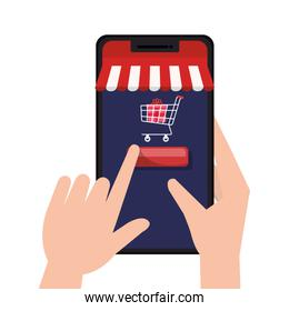 hands holding smartphone with tent and cart with gift vector design