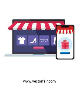 laptop and smartphone with tent gift and icon set vector design