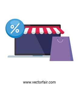 Laptop with tent bag and percentage sale button vector design