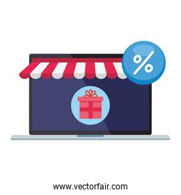 laptop with tent percentage sale button and gift vector design