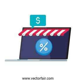 laptop with tent and percentage sale button vector design