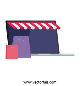 Laptop with tent and bags vector design