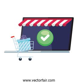 laptop with tent gift inside cart and check mark button vector design