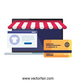 Laptop with tent credit card and website vector design