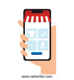 Hand holding smartphone with tent vector design