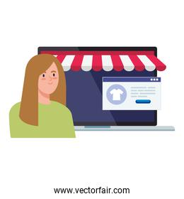 woman avatar laptop with tent and website vector design