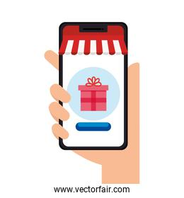 hand holding smartphone with tent and gift vector design