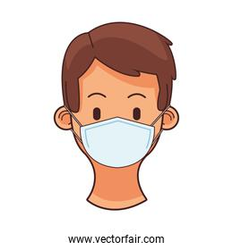 young man wearing medical mask head character