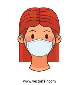 young woman wearing medical mask head character