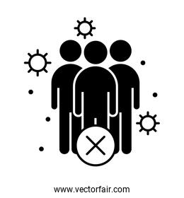 covid 19 coronavirus social distancing prevention, keep distance in public society people, outbreak spreading vector silhouette style icon