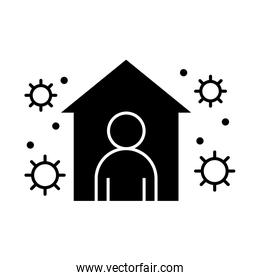 covid 19 coronavirus social distancing, stay in the house to prevent virus infection vector silhouette style icon