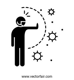 covid 19 coronavirus social distancing prevention, instruction against the spread, outbreak disease vector silhouette style icon