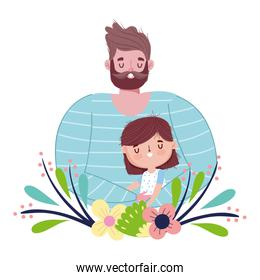 happy fathers day, cute dad and daughter flowers love