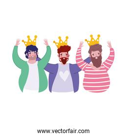 happy fathers day, group men with crown decoration