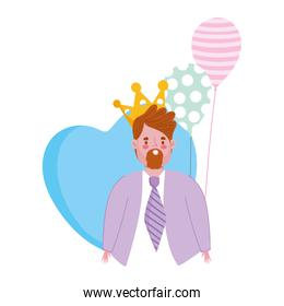 happy fathers day, dad with and balloons heart decoration