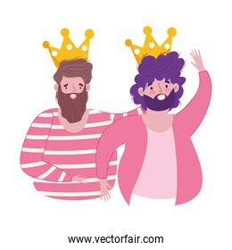 happy fathers day, greeting card dads with crowns celebration