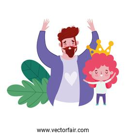happy fathers day, dad and son with crown cartoon card