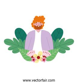 happy fathers day, dad character with flowers