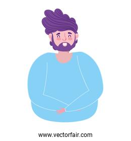 man character male avatar portrait cartoon isolated icon design