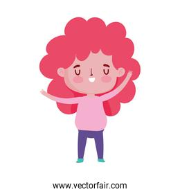 cute little girl cartoon character isolated design icon