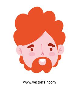 male face beard character portrait man isoated design icon