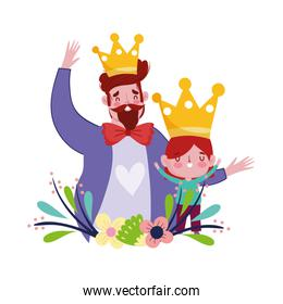 happy fathers day, cute dad and son crown flowers love