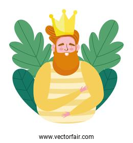 happy fathers day, bearded dad with crown leaves foliage cartoon