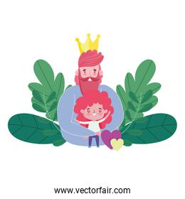 happy fathers day, dad with crown hugging a son, hearts love