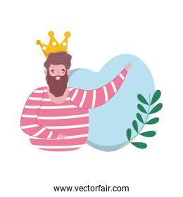 happy fathers day, dad character with heart crown