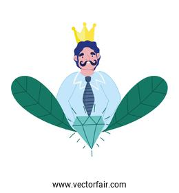 isolated  dad with moustache crown and diamond