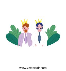 happy fathers day, young men with crowns and foliage decoration