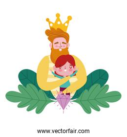 happy fathers day, bearded man hugging a little son cartoon