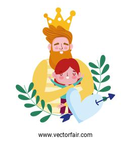 happy fathers day, bearded dad with crown hugging a son, heart pierced arrow