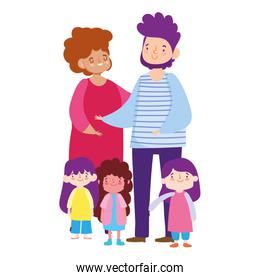 father mother little daughters girl cartoon characters, family day