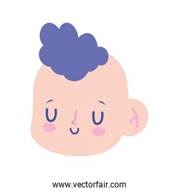 cute little baby boy face character cartoon isolated design icon