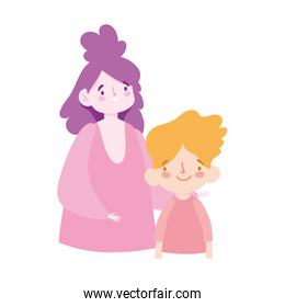 mother and son boy cartoon character portrait design