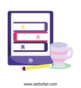 online education smartphone stack of ebooks pencil and coffee cup