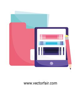 online education smartphone books folder file and pencil