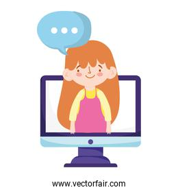 online education student girl in video lesson talk computer